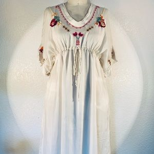 Johnny Was Gracie emb dress with slip size S/M NWT